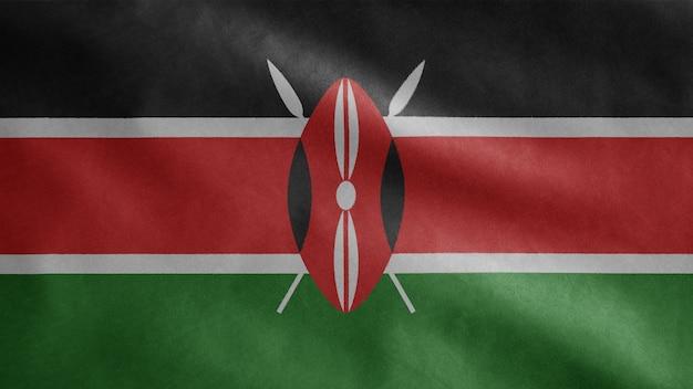 Кенийский флаг развевается на ветру. кения баннер выдувной, мягкий и гладкий шелк.