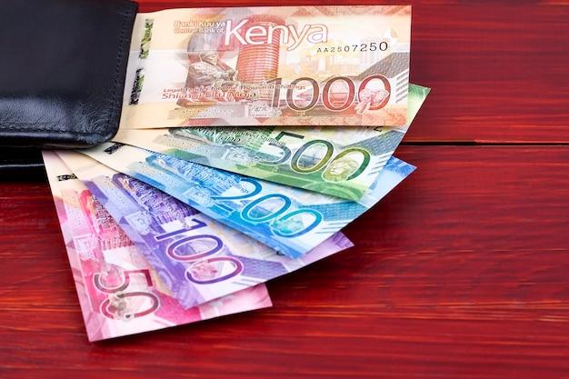 Kenyan shillings in the black wallet