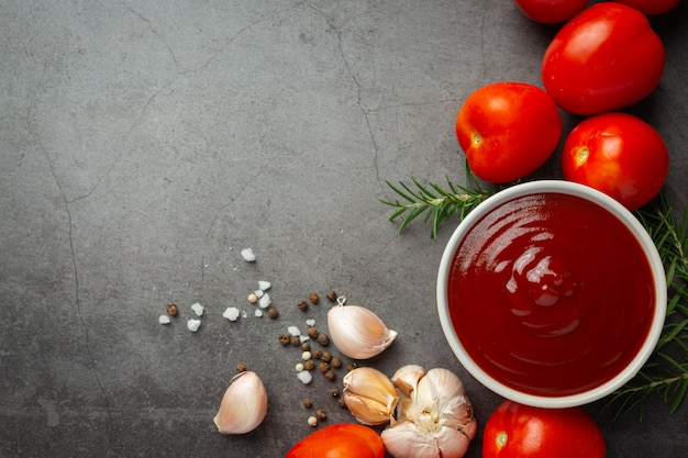 Ketchup or tomato sauce with fresh tomato