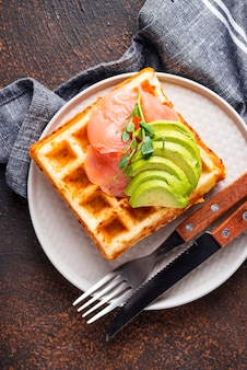 Keto cheese waffle with avocado