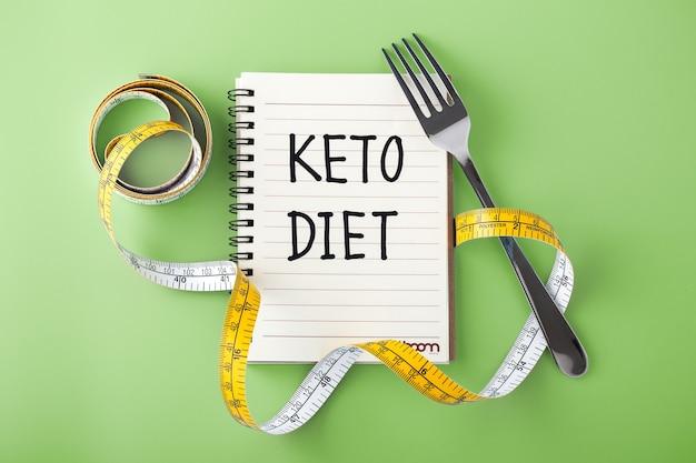 Концепция кето-диеты на зеленой поверхности
