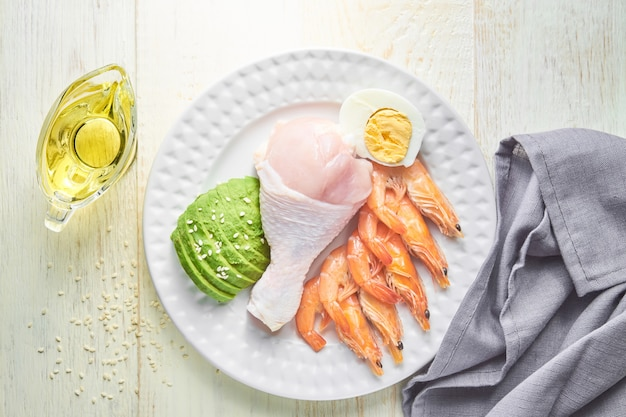 Keto diet ingredients. healthy background. ketogenic protein food concept.