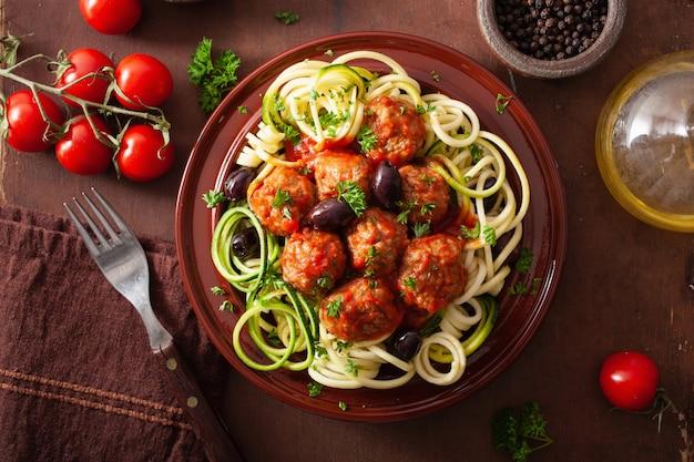 Keto палео zoodles лапша цуккини с фрикадельками и оливками