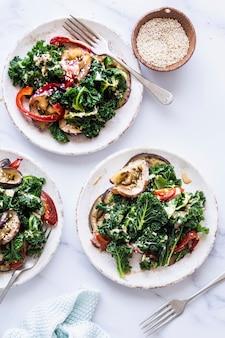 Keto salad with roasted eggplant and kale