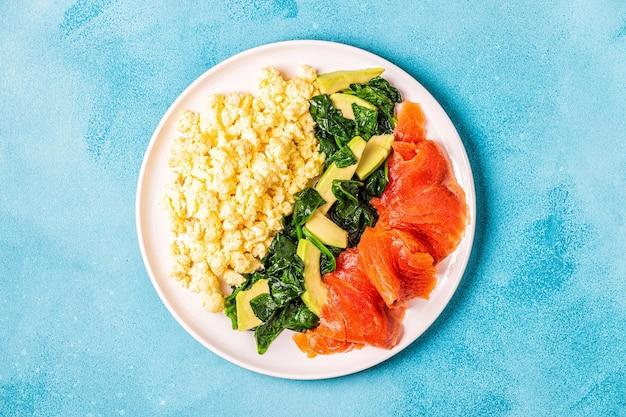 케톤식이 요법 아침 식사, 스크램블 에그, 연어, 아보카도, 시금치, 평면도.