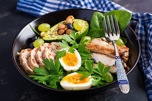Кетогенная диета. чаша будды с мясным рулетом, куриным мясом, авокадо, ягодами и орехами. детокс и здоровая концепция. кето еда.