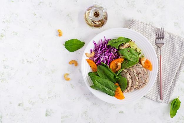 Кетогенная диета. чаша будды с мясным рулетом, куриным мясом, авокадо, капустой и орехами. детокс и здоровая концепция. кето-еда. накладные, вид сверху, плоская планировка