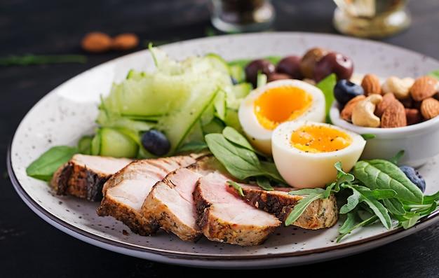 ケトジェニックダイエット。ケトブランチ。ゆで卵、豚肉ステーキ、オリーブ、キュウリ、ほうれん草、ブリーチーズ、ナッツ、ブルーベリー。