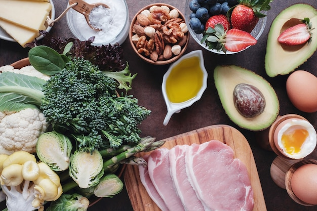 Ketogenic diet, low carb, high fat, healthy food