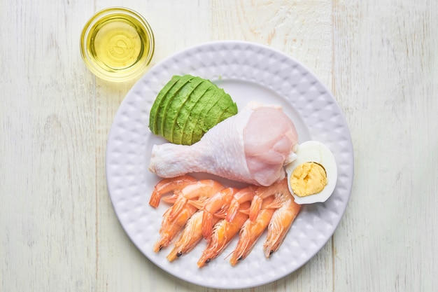 Ketogenic food concept - plate with high fat keto food