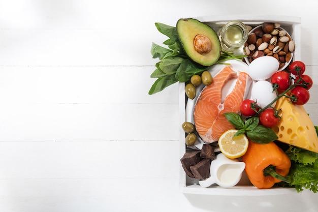 ケトジェニック低炭水化物ダイエット-白い壁の食べ物の選択。