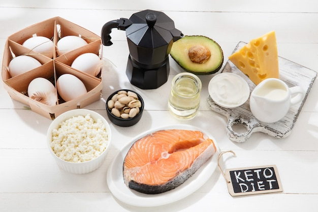 Ketogenic low carbs diet  food selection