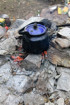 Kettle on a campfire