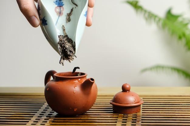中国茶を淹れるためのやかん、急須にお茶を入れます。