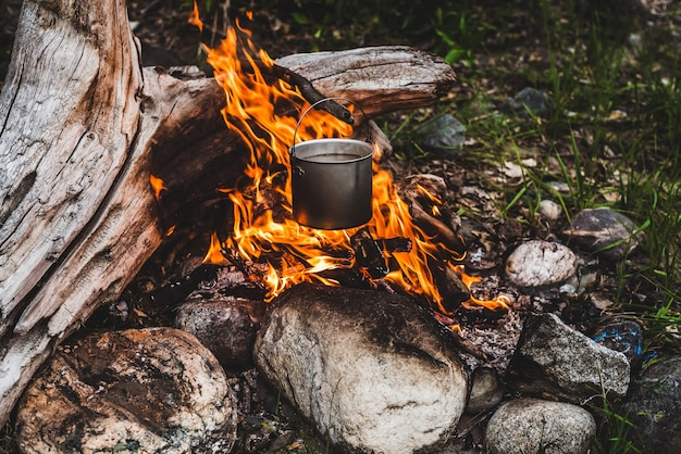Kettle hanging over fire.