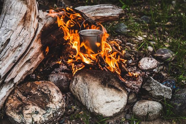 火に掛かっているやかん。野生の火で料理を調理しています。たき火のクローズアップで美しい大きな丸太が燃えます。野生の自然の中での生存。大釜の素晴らしい炎。鍋が炎の中でハングアップします。