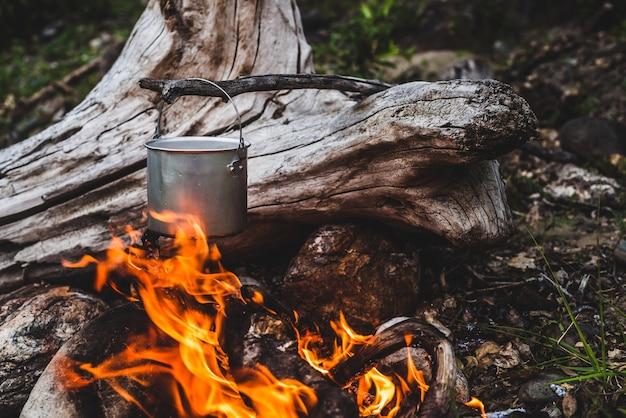 Чайник висит над огнем. Premium Фотографии