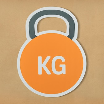 Kettlebell heavy weight lifting icon