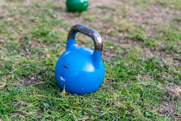 Kettlebell on the lawn for outdoor strength exercise.