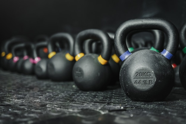 Kettlebells at the crossfit gym. sport concept. copy space