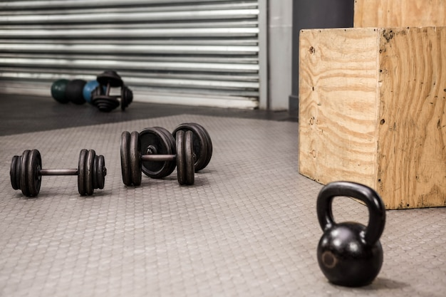 Kettlebells and dumbbells at the crossfit gym