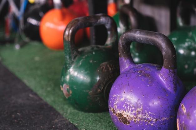 Kettlebells in gym