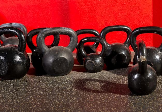 Kettlebells weights in a workout gym