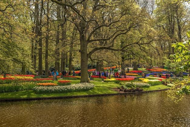 美しい春の花が咲くキューケンホフ公園