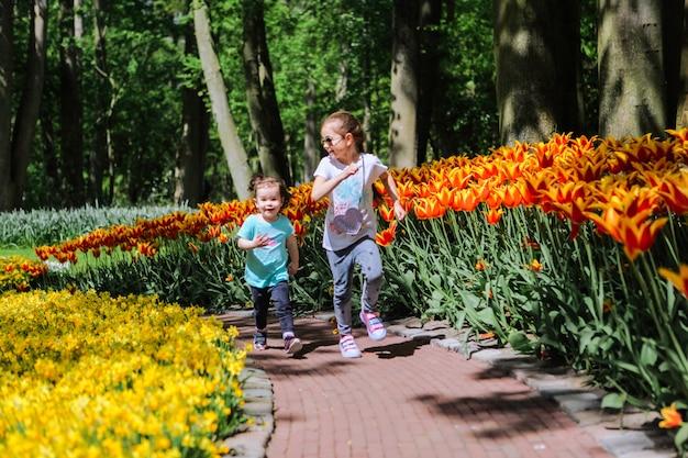 Две сестренки веселятся в разноцветных тюльпанах на полях тюльпанов. ребенок в поле цветка тюльпана в голландии. малыш в волшебном нидерландском пейзаже с полем тюльпанов keukenhof. концепция путешествия и весны