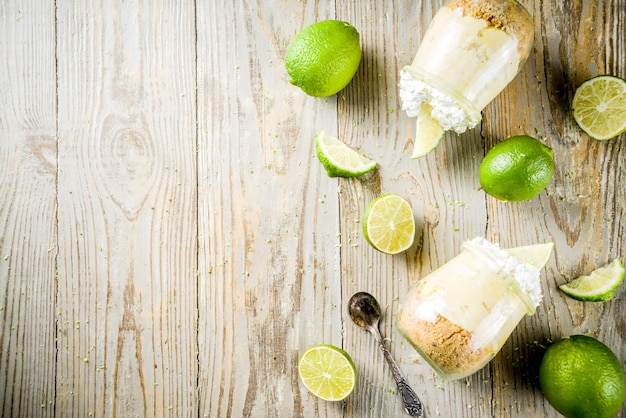 Key lime pie in small jars