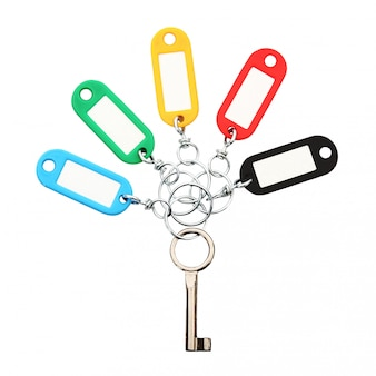 Key ring collage on white