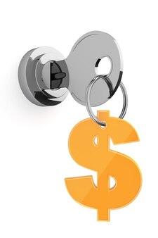 Ключ к концепции денег. ключ и золотой знак доллара на белом фоне