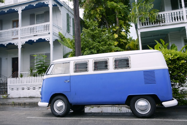 Key west vintage parked van in south florida