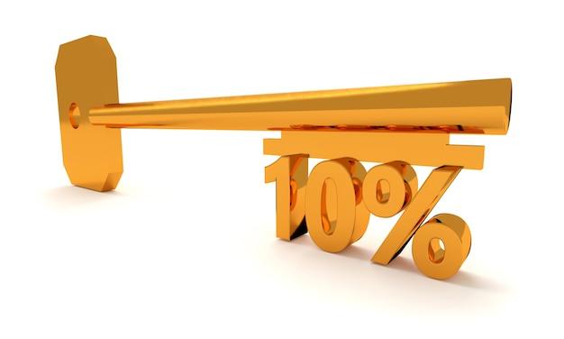 Ключ с 10 процентами, изолированные на белом фоне