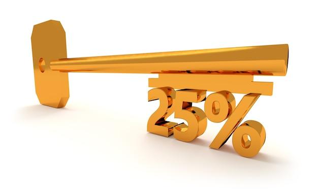 Ключ с 25 процентами, изолированные на белом фоне