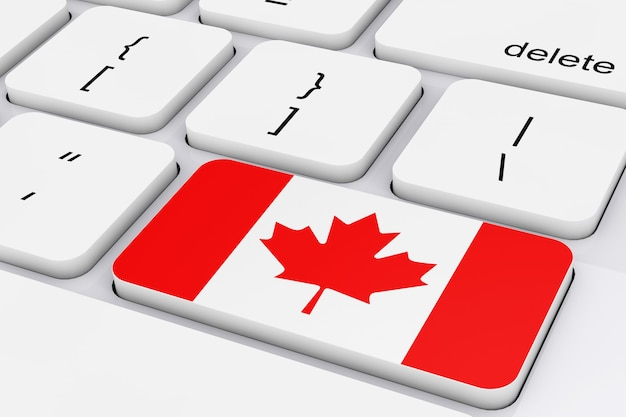 Key with canada flag on a white pc keyboard extreme closeup. 3d rendering