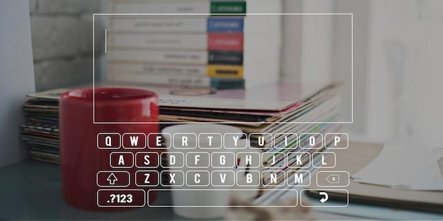 キーボードアルファベットコンピュータ電子文字の概念