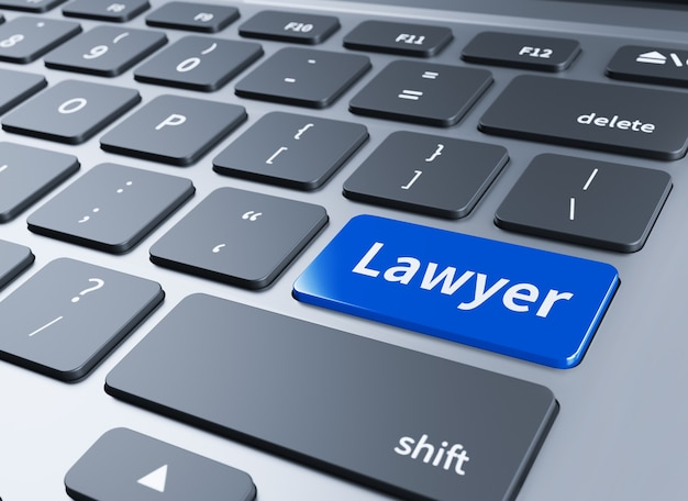 A keyboard with a blue button - lawyer.3d illustration