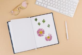 Keyboard with herbarium in notebook