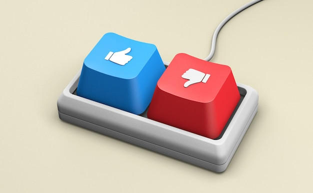 Keyboard with like and dislike buttons. 3d render.