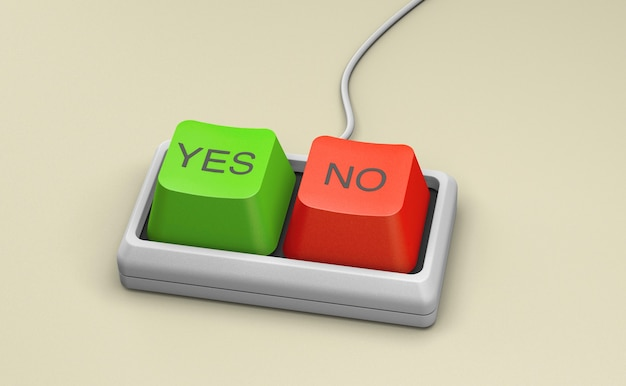 Keyboard with yes and no keys on a yellow background. 3d render.