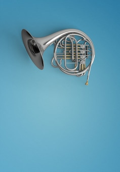 Keyed trumpet on a blue background