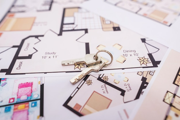 住宅建設図の鍵。家を建てたり購入したりする。