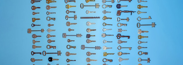 Keys set on blue background