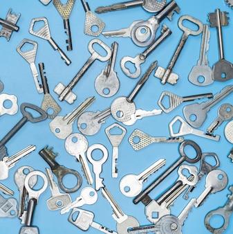 Keys set on blue background