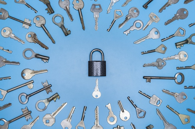 Keys set and lock concept, blue background, protection of business and home