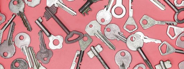 Keys set on pink background