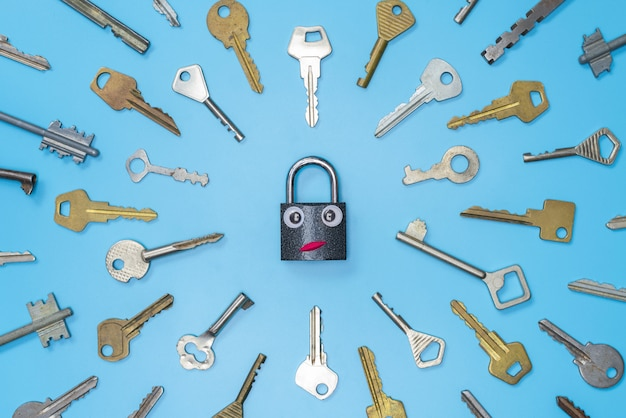 Keys set with funny lock concept, blue background