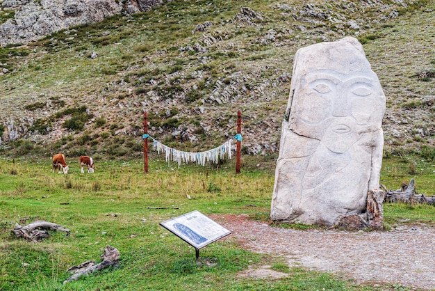 Kezertash stone sculptures of the ancient turkic period pagan worship element
