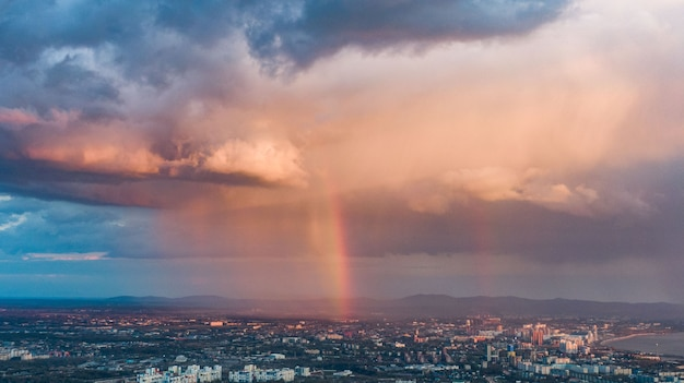Khabarovsk city top view sunset beautiful clouds in the rain high quality photo